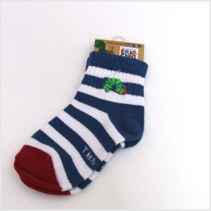 3点999円税抜|はらぺこあおむし 刺繍 キッズソックス (紺ボーダー)|or-box