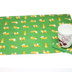 かわいい柴犬しばたさんのランチマットとコースターセット グリーン|or-box
