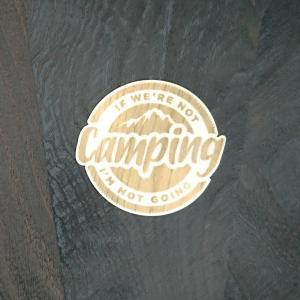 【期間限定Pアップ】WOOD STICKER Camping ウッド ステッカー 木 シール 車 バイク 自然素材 生分解素材 おしゃれ かっこいい|or-select