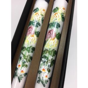 小池ろうそく 手描き絵ろうそく 越後花ろうそく 和ろうそく型 芯切り不要 12cm 2本入 菊 oraho