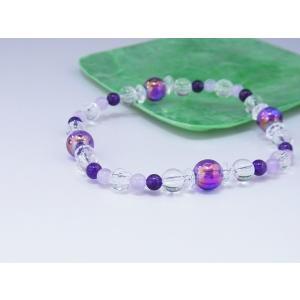 ブレスレットMIX 紫水晶オーラ・紫水晶・藤雲石 天然石 メール便OK oraho