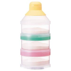 3回分の粉ミルクをはかりおきできます。おでかけ先や夜間の調乳に。ロート状のキャップで、粉ミルクをこぼ...