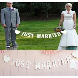 JUST MARRIED ウェディング用ガーランド フォトプロップス レターバナー【ホワイトタイプ】|orange58
