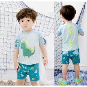 ダイナソーデザイン ライトグリーン 水着2点セット  男の子 ラッシュガード、スイムパンツ キッズ 子供 ベビー 赤ちゃん B-11 orange58