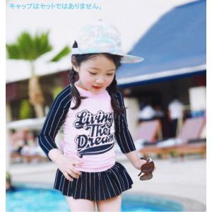 ピンク ストライプ柄 ラッシュガード&スイムパンツセット 女の子用スイムウェア 子供 キッズ G-13 orange58