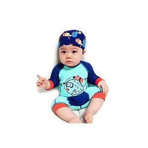 ダイビングフィッシュデザイン スイムウェアと水泳帽のセット ロンパースタイプ 水着 子供 キッズ ベビー用 赤ちゃん用 オールインワン 男の子 R-13 orange58