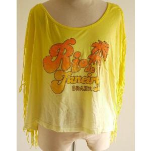 赤字特価/キャメロンハワイ(Cameron Hawaii)フリンジ付きTシャツ/フリンジドルマントップ|orangecake
