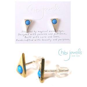 Chibi Jewels(チビジュエルズ)ターコイズ トライアングルピアス/三角ピアス/Turquoise Triangle Stud Earrings/E186|orangecake