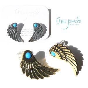Chibi Jewels(チビジュエルズ)ターコイズ&フェザー羽のピアス/Seraph Wing Stud Earrings/E229|orangecake