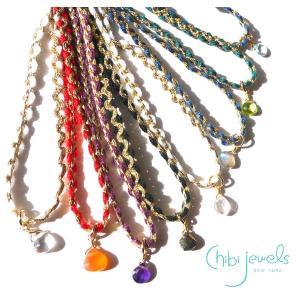 メール便送料無料/Chibi Jewels(チビジュエルズ)しずく型ストーンのチョーカーネックレス/2連ブレス/ローズクォーツ、水晶/Color Cord Choker Necklace/N289|orangecake