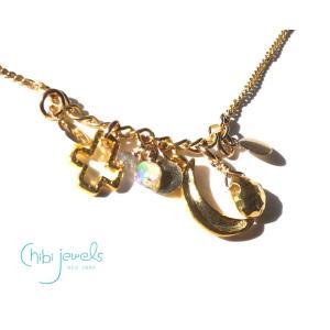 メール便送料無料/Chibi Jewels(チビジュエルズ)月と十字架のネックレス/ムーンストーン&ラブラドライト/Stardust Charm Necklace GOLD/N307|orangecake