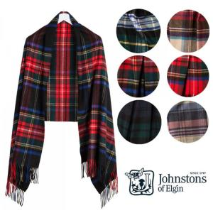 ジョンストンズ(Johnstons of Elgin)大判カシミアストール/チェック柄タータンストール/WA000056 orangecake