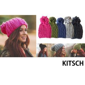 メール便送料無料/Kitsch(キッチュ)ニット帽子/ポンポン付きざっくりニットキャップ/chunky knit pom beanie|orangecake