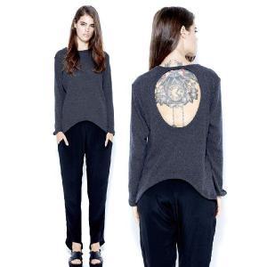 タイムセール/LnA(エルエヌエー)背中開き長袖ロングセーター/カットソー/トップス/Atlas Sweater(チャコールグレー)|orangecake