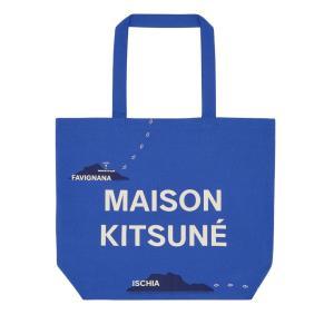 2019年新作/メゾンキツネ(MAISON KITSUNE)ロゴトートバッグ ALL-OVER MAPPA TOTE BAG ブルー|orangecake