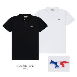 2019年新作/メゾンキツネ(MAISON KITSUNE)メンズ ポロシャツ POLO TRICOLOR FOX PATCH トリコロール フォックス刺繍/ホワイト、ブラック|orangecake