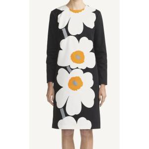 マリメッコ(marimekko)ウニッコ柄ワンピース/Unikko Woven/LENITA/ブラック×ホワイト×オレンジ|orangecake