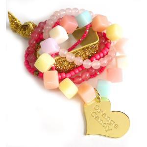 OrangeCandy(オレンジキャンディー)Loveハート&パワーストーンブレスレット/ローズクォーツ、ストロベリークォーツ|orangecake