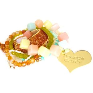 OrangeCandy(オレンジキャンディー)Loveハート&パワーストーンブレスレット/マスカットジェイド、カーネリアン|orangecake