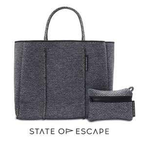 State of Escape(ステイトオブエスケープ)FLYING SOLO BAG in LUXE charcoal marle/トートバッグ ポーチ付き/ネオプレン/チャコールマール/マザーズバッグ orangecake