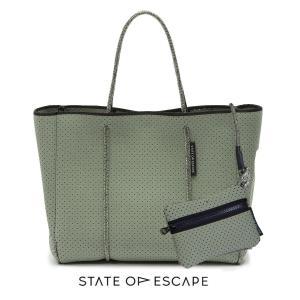 State of Escape(ステイトオブエスケープ)Sage Green/セージグリーン/FLYING SOLO BAG/トートバッグ ポーチ付き/ネオプレンバッグ/マザーズバッグ orangecake
