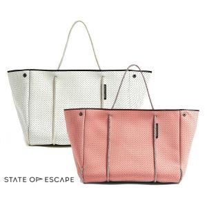State of Escape(ステイトオブエスケープ)ESCAPE BAG/トートバッグ ポーチ付き/ネオプレンバッグ/マザーズバッグ/ピンク、アイボリー orangecake