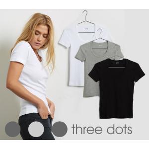 メール便送料無料/Three Dots(スリードッツ)Tシャツ レディース ジェシカ 半袖Uネック/Essential Heritage Knit Scoop Neck Tee/AA1S004W|orangecake
