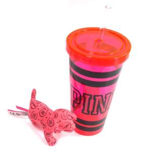 ヴィクトリアシークレットPINK(VictoriasSecret)ドリンクカップ&犬のぬいぐるみセット orangecake