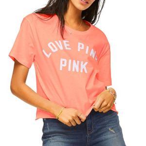 ヴィクトリアシークレットPINK(VictoriasSecretPINK)レディースTシャツ/トロピカルピンク/Shrunken Campus Tee orangecake