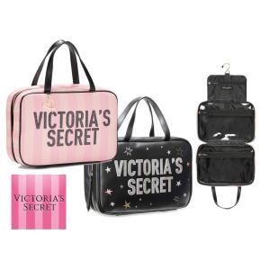 クリアランス/ヴィクトリアシークレット(VictoriasSecret) トラベルケース/ポーチ/クラッチバッグ/ピンクストライプ&ブラックスター orangecake