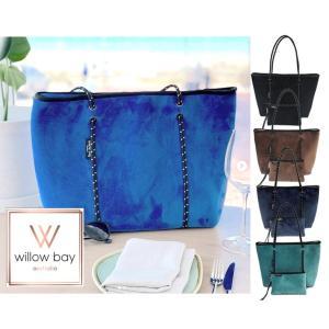 ファスナー×ベロア/Willow bay(ウィローベイ)ベルベットネオプレントートバッグ ポーチ付き/Boutique Velvet Zip/マザーズバッグ|orangecake