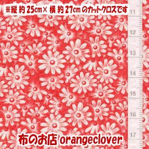 生地 布 30's復刻柄 カットクロス moda Chloe's Closet 小花柄 レッド 縦25cm×横27cm|orangeclover