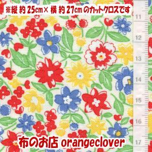 生地 布 30's復刻柄 カットクロス moda Chloe's Closet 花柄 ホワイト 縦25cm×横27cm|orangeclover
