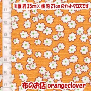 生地 布 30's復刻柄 カットクロス Windham Storybook Mini Floral 花柄 オレンジ 縦約25cm×横約27cm|orangeclover