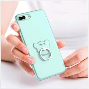 iphoneX 8plus 8 7plus 7 6splus 6s 6plus 6 スマホケース スマホリング付 クマ TPU ソフト 薄 アイフォンケース かわいい クマ|orangecoco