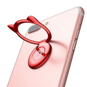 CAT バンカーリング スマホリング 猫 耳 スマホ 全機種対応 スマホスタンド Xperia Galaxy iphone ipad タブレット対応 ステンレス メタル合金|orangecoco