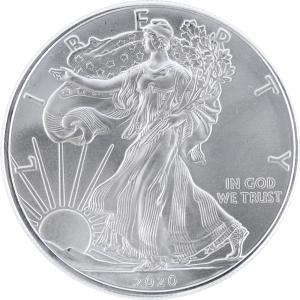 インゴット アメリカ イーグル銀貨 最新2020年 純銀1oz 銀品位999 直径40.6mm 31...