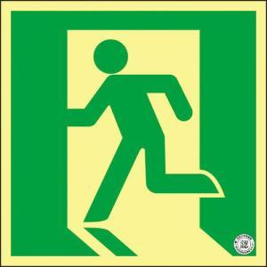 緑十字 高輝度蓄光避難誘導ステッカー標識 非常口 ASN815 200×200mm A級認定品 ( 377815 ) (株)日本緑十字社 orangetool