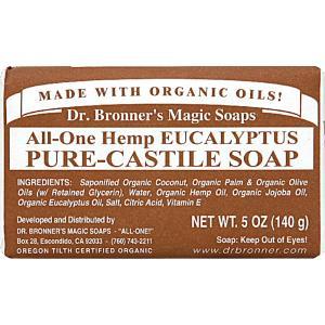 ドクターブロナー マジックソープバー ユーカリ 140g DR BRONNER MAGIC DR.BRONNER'S SOAP ALL ONE HEMP EUCALYPTUS PURE CASTILE SOAP|orchid