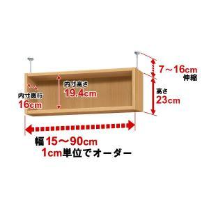 オーダーマルチラック専用 天井つっぱり上置棚【耐荷重・タフタイプ】奥行19cm 高さ23cm 幅33cm|ordershunostyle