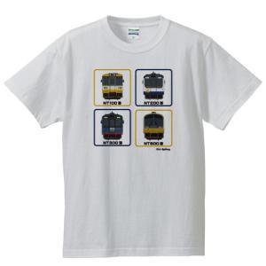 のと鉄道Tシャツ半袖ホワイト子供用サイズ:100-160「front4」|oreno-shop