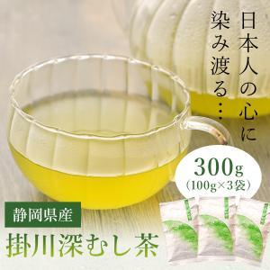 お茶 日本茶 緑茶 茶葉 静岡 掛川 深むし茶 300g [ 100g×3袋 ] 送料無料 深蒸し 茶 ポイント消化 メール便 ギフト 高級 徳用 国産|organic