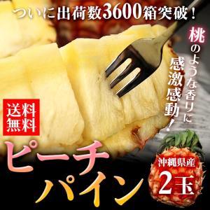 パイナップル 沖縄県産 ピーチパイン 2玉 送料無料 パイン フルーツ 旬 果物(gn)