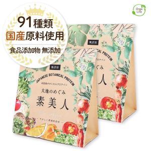 純国産ボタニカルプロテイン 大地のめぐみ素美人 500g 黒糖抹茶味 女性のための美容専門 ソイ タンパク質 美容成分配合 送料無料|organickitchen