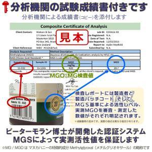 マヌカハニー ピーターモラン博士認定 MGS:16+/MGO:600+ 250g【正規品】成績書+製造保証付 organicnoni 03