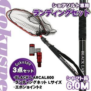 Gokuspe ショアソルト専用 ランディングセット BLACK LARCAL600 + ランディングネット Lサイズ + エボジョイント2 3点セット レッド (sip-netset54) ori