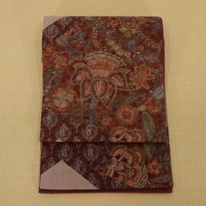 袋帯 洒落袋帯 更紗 紬地 長さ456cm 幅31cm|oribe
