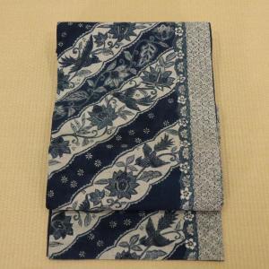 袋帯 洒落帯 藍染 紬地 長さ440cm 幅31cm|oribe