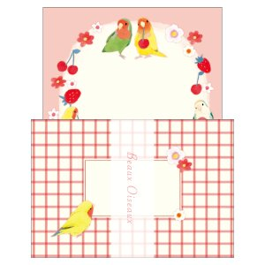 ミニレターセット ボー・オワゾー ML-7692 コザクラインコ 小鳥 鳥 お花 フルーツ 苺 チェリー BeauxOiseaux 日本製 オリエンタルベリー orientalberry