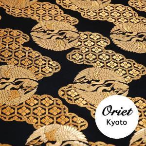 金襴 雲取り亀甲に向い鶴の丸 黒 装束,衣装,神輿,手芸などにも  和柄  和生地 和風 和柄生地